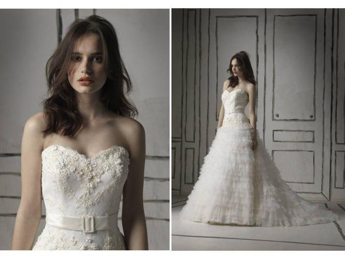 Ivory full a-line embellished wedding dress with sweetheart neckline