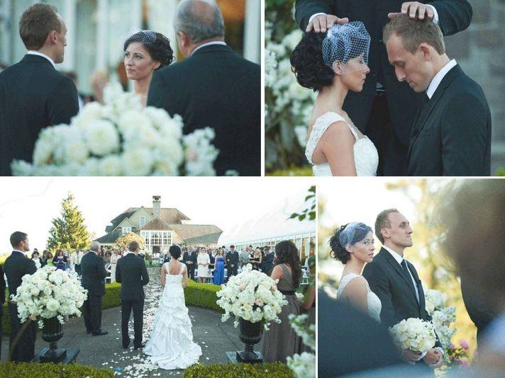 Outdoor ceremony venue, bride and groom take vows