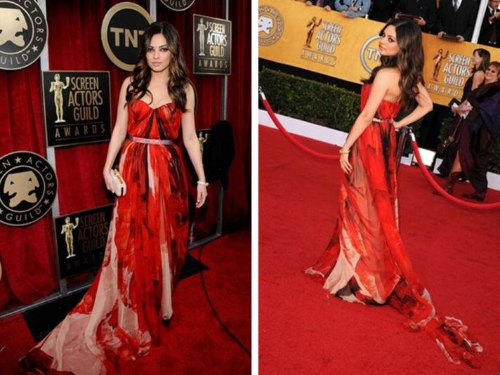 Mila Kunis wears red and black Alexander McQueen chiffon gown