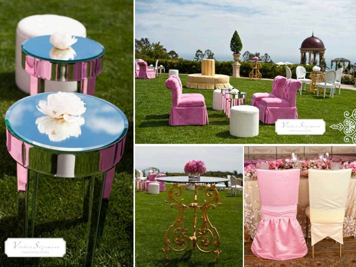 Whimsical outdoor setup for pre-reception cocktail hour