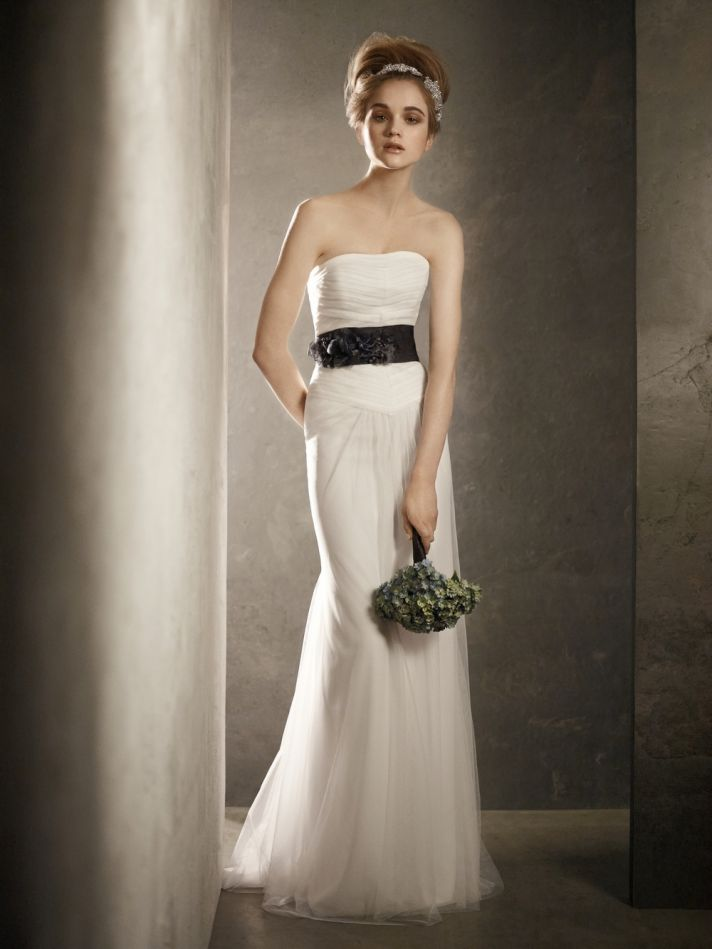 Strapless white modified mermaid 2011 wedding dress with black bridal sash