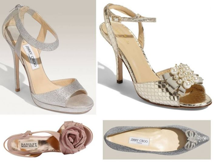Silver Jimmy Choo bridal heels with ankle strap, gold metallic peep-toe Kate Spade bridal heels