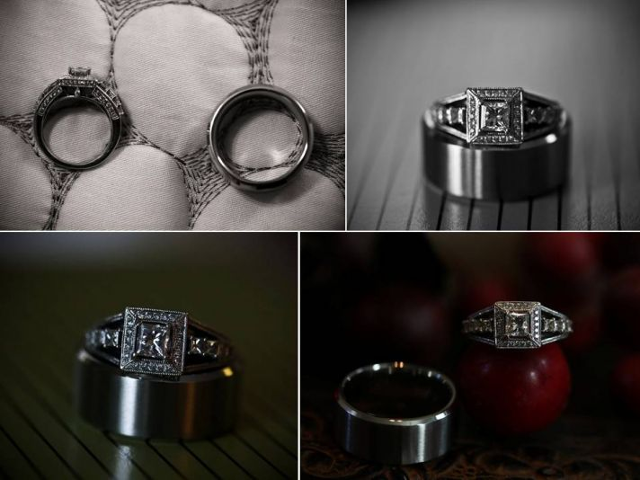Artistic engagement ring and wedding bands photos