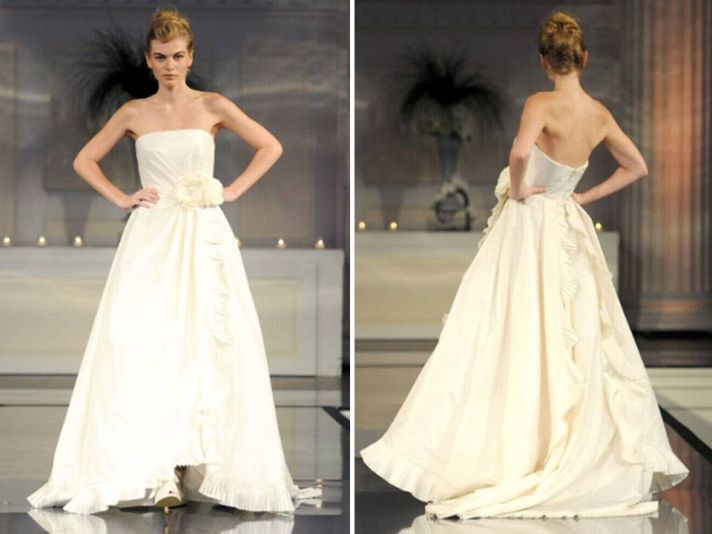 Ivory ballgown wedding dress with floral applique at waist
