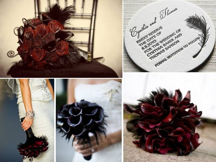 Dark red and black bridal bouquets and letterpress save-the-dates