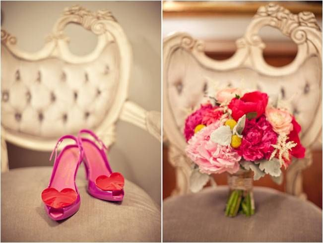 Pink peep-toe sling back bridal heels with red heart shoe clips