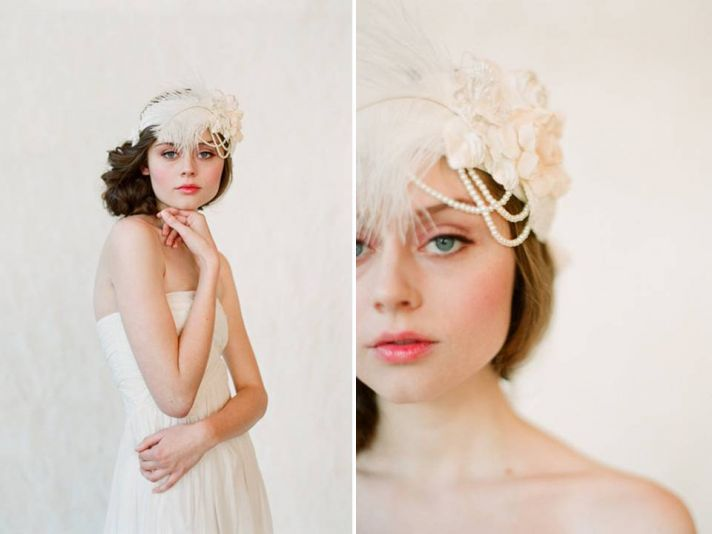 Flapper-inspired romantic bridal headband with feathers and pearls