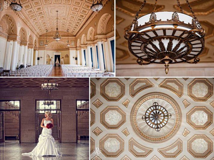 Elegant wedding ceremony venue with ornate gold ceilings