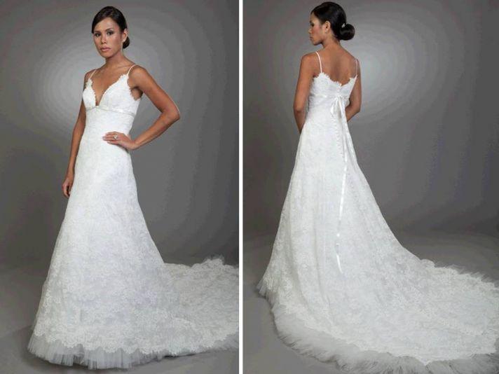 White lace a-line wedding dress with v neckline