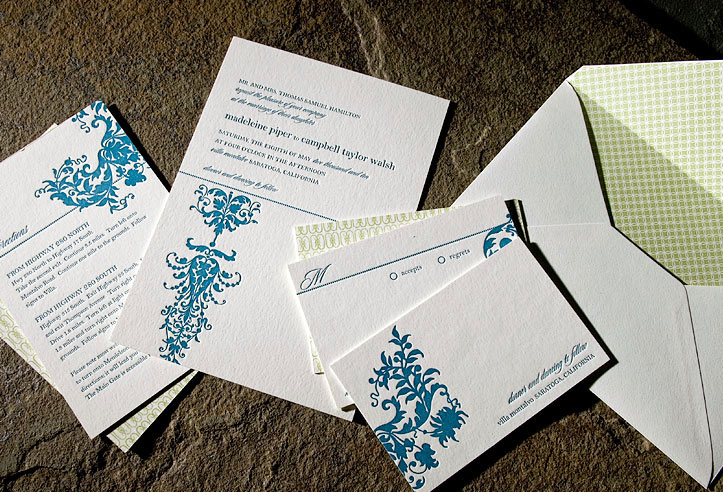 White teal blue and sage green ecofriendly letterpress wedding invites