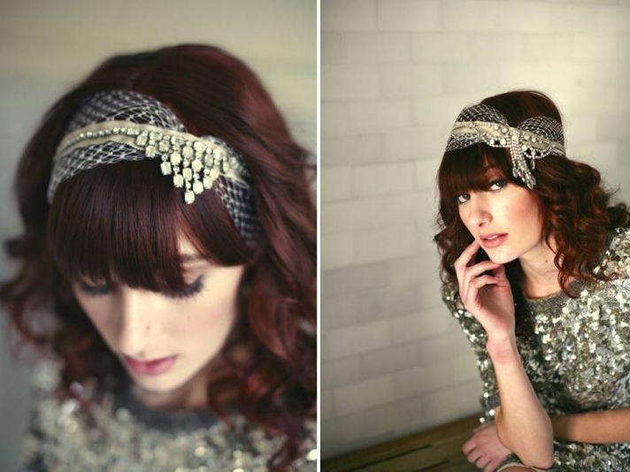 Vintage-inspired rhinestone embellished bridal headband