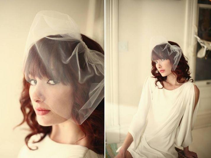 Vintage-inspired tulle bridal veil