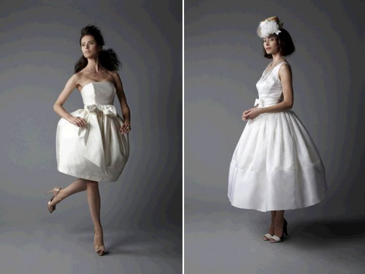 Vintage-inspired 2011 wedding dresses- a-line with lace detail, open cowl back