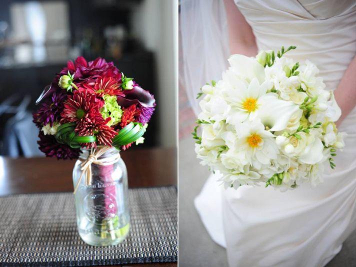 DIY wedding flower centerpiece- colorful daisies in mason jar