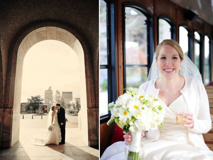 Bride and groom kiss under North Carolina arch after saying I Do