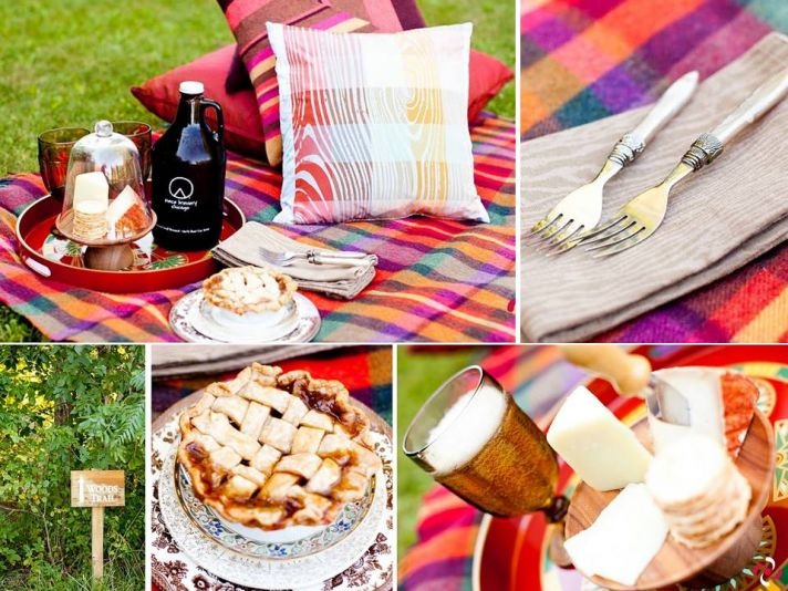 Romantic picnic for bride and groom with local fare