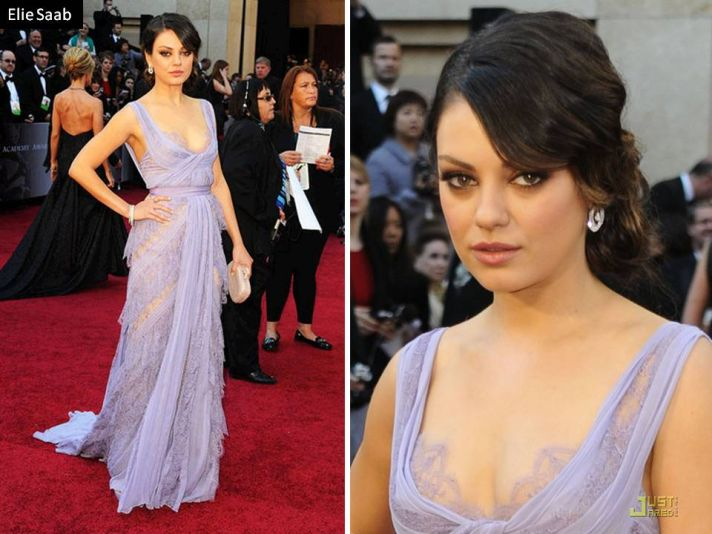 Mila Kunis in Elie Saab couture gown on 2011 Oscars red carpet