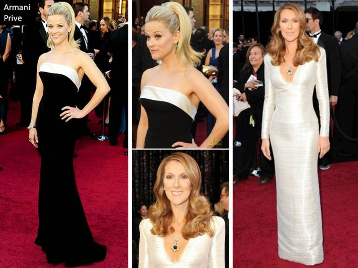 Reese Witherspoon and Celine Dion in Armani Prive gowns at 2011 Oscars