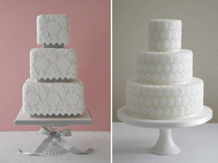Classic white wedding cakes with romantic lace design