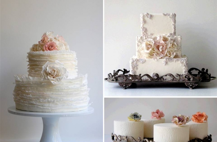 romantic-wedding-style-wedding-cakes-ivory-flower-adorned-vintage-inspired