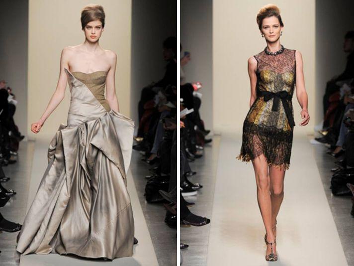 Bottega Veneta metallic champagne gown from Milan Fashion Week
