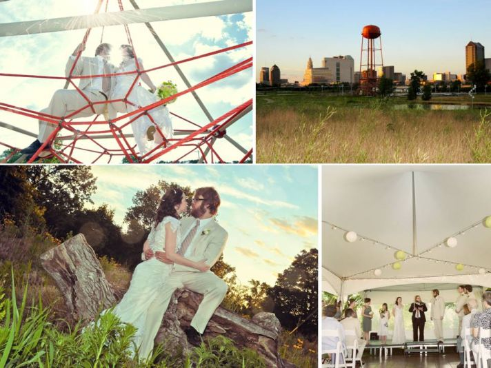 Artistic wedding photography- bride and groom pose outdoors in retro wedding garb