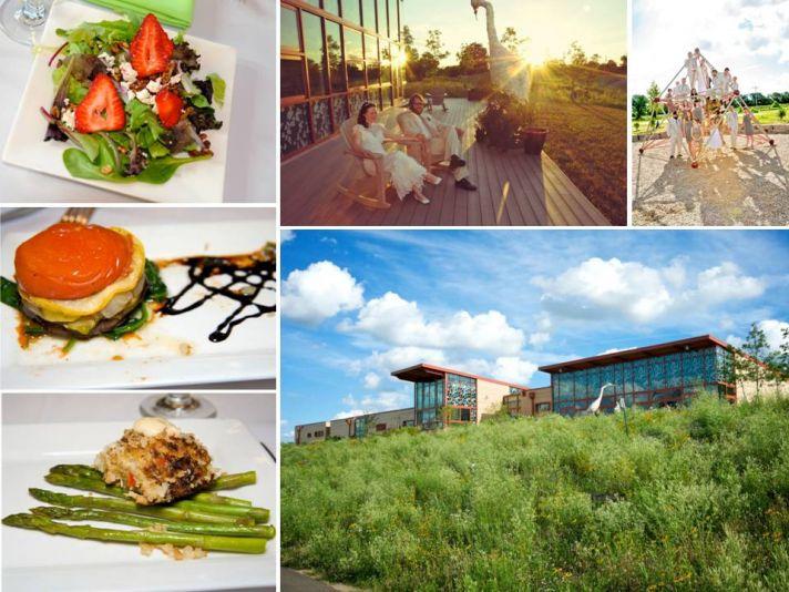 Outdoor wedding venue, chic wedding reception catering