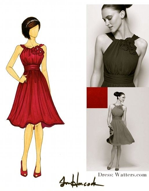 Illustration of bridesmaid in red Watters bridesmaid dress and peeptoe