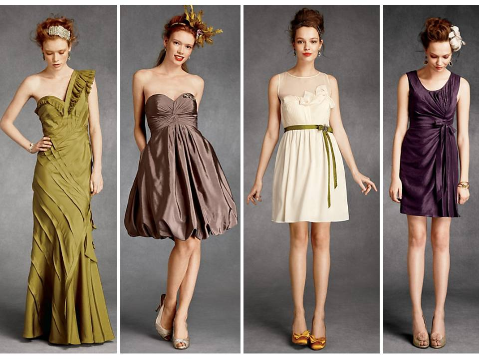BHLDN olive green cream and purple bridesmaid dresses