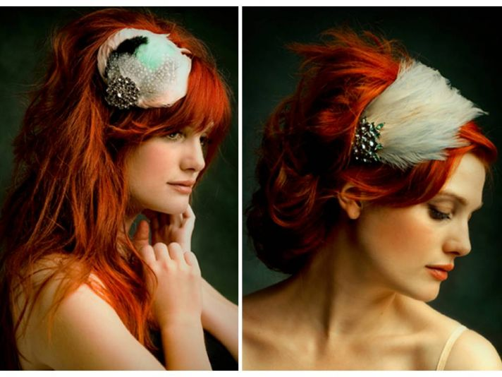 Feather-adorned vintage inspired bridal headbands by Ban.do