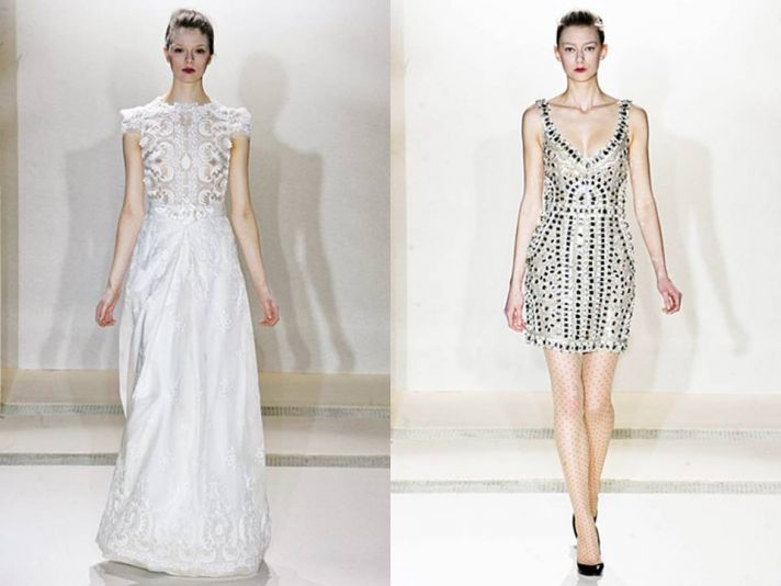 White bateau neck modified a-line wedding dress; short metallic reception dress