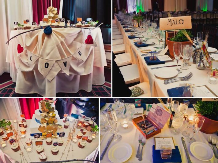 Themed wedding reception tables, and a classic white wedding cake with gold leafing