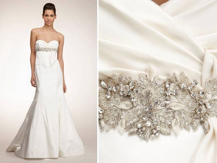Chic white mermaid wedding dress with sweetheart neckline and jeweled bridal sash