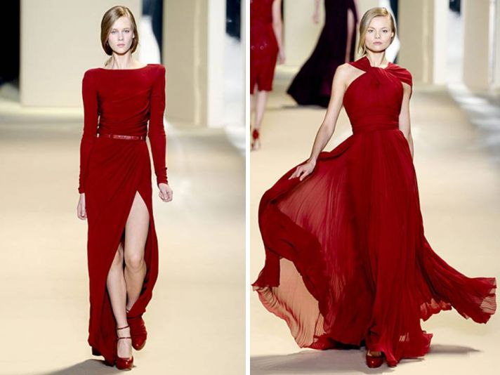 Stunning red Elie Saab red carpet gowns with waist-cinching belt and slit
