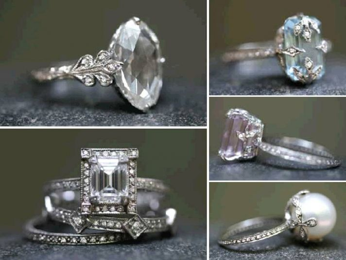 Emerald cut diamond engagement ring and non-diamond engagement rings