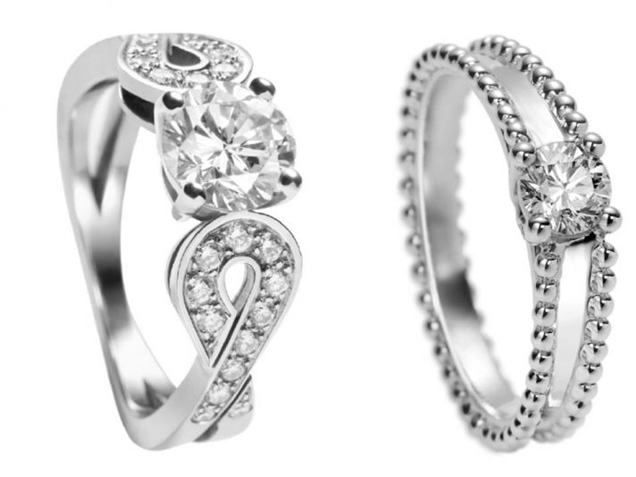 Contemporary platinum and diamond engagement rings by Van Cleef