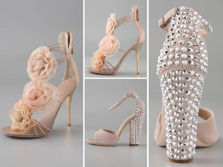 Romantic blush pink bridal heels with flower embellishments