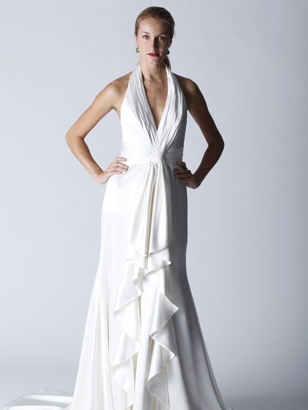 White deep v halter wedding dress with a old Hollywood glam feel