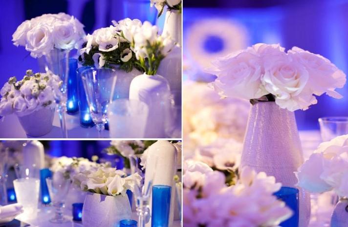 white-wedding-flowers-blue-ceremony-room-modern-wedding-tablescape