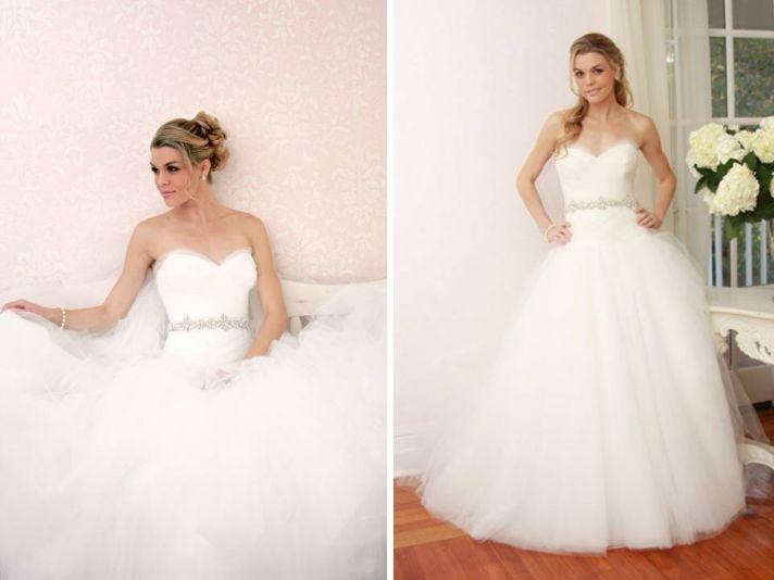 Classic ivory sweetheart neckline tulle ballgown wedding dress