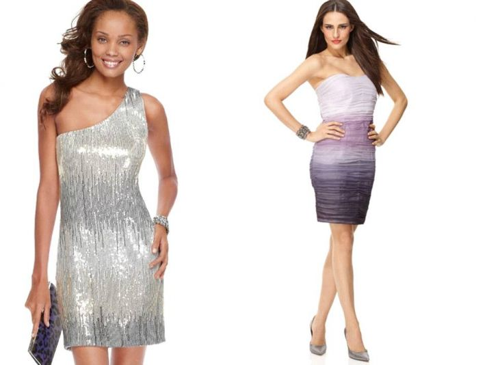 One-shoulder silver ombre bridesmaid dress and short pleated ombre frock