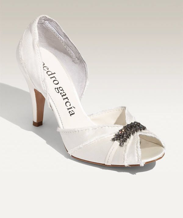 White satin peep-toe D'Orsay bridal pumps by Pedro Garcia