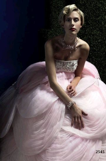 Bubble gum pink couture wedding dress with romantic tulle skirt