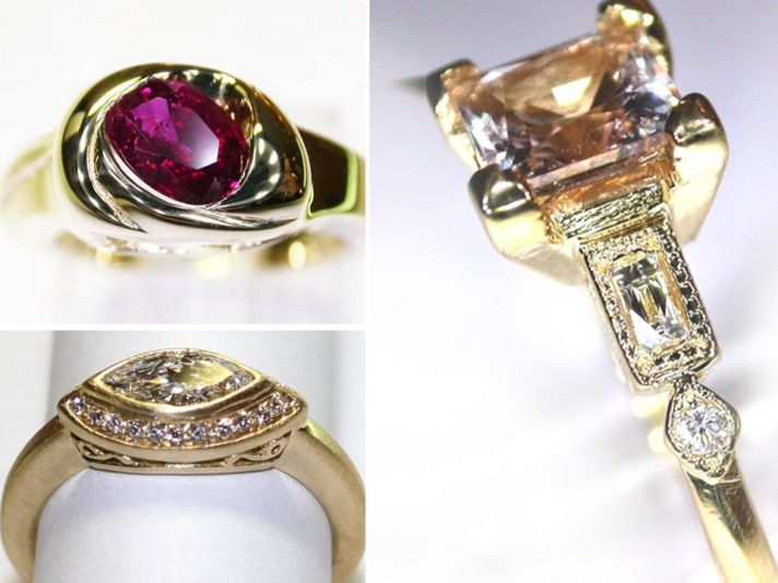 Heirloom engagement rings featuring non-diamond center stones