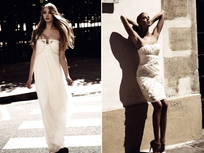 Grecian-inspired ivory strapless empire wedding dress and wedding reception dress