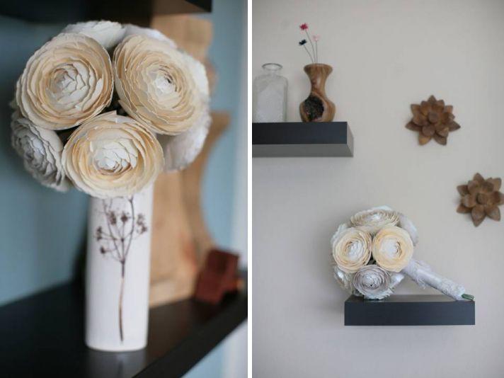 Romantic paper ranunculus for bridal bouquet