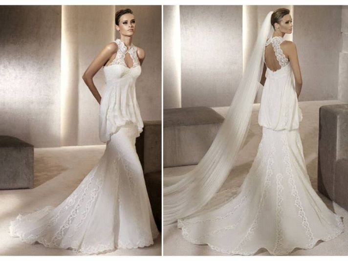 Romantic mermaid wedding dress with high lace neck and keyhole slit