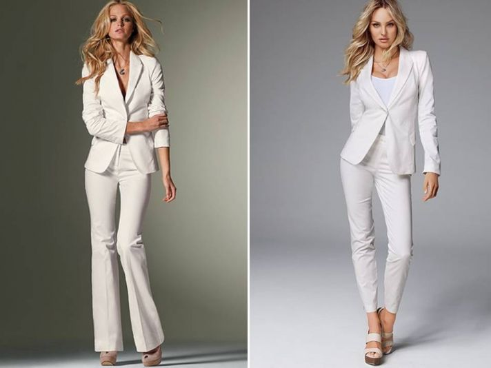 White tailored suits for the high-fashion bride from Victoria's Secret