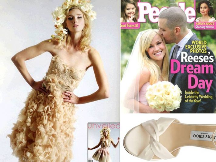Reese Witherspoon's blush pink Monique Lhuillier wedding dress