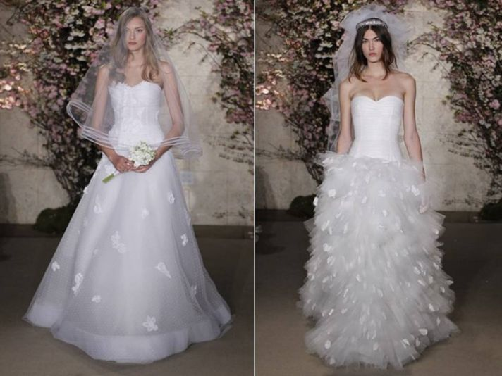 Chic Oscar de la Renta Spring 2012 wedding dresses with petal and floral embellishments